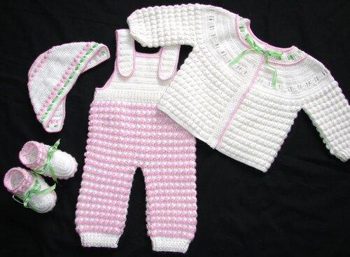 Pembe/Beyaz bebek tulumu, H�rkas�, bere ve pati�i