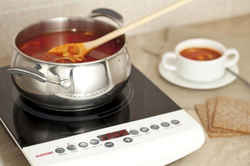 ...плитка автоматически отключается, если в... 10 режимов мощности; * нагревательный элемент индукционного типа...