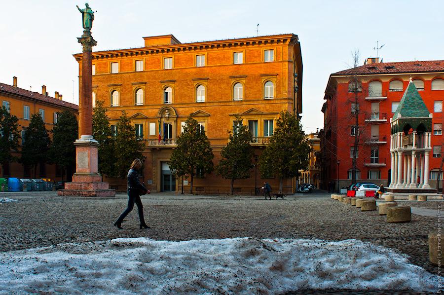 В Болонье снег выпадает не часто