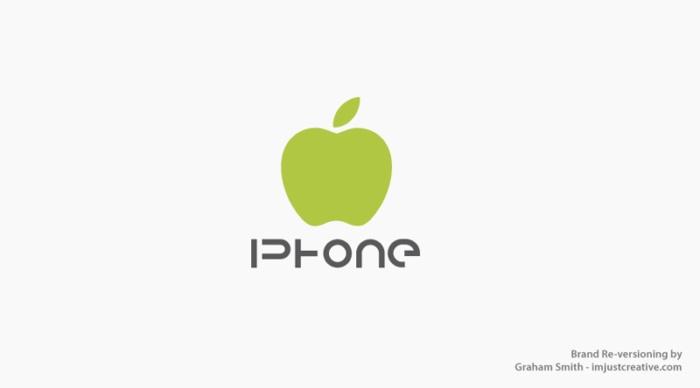 логотип Iphone стал зеленым яблоком цвета Android  - бренды которые поменяли местами