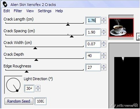 Фильтр Cracks (Трещины) позволяет создавать трещины и надломы самых разнооб