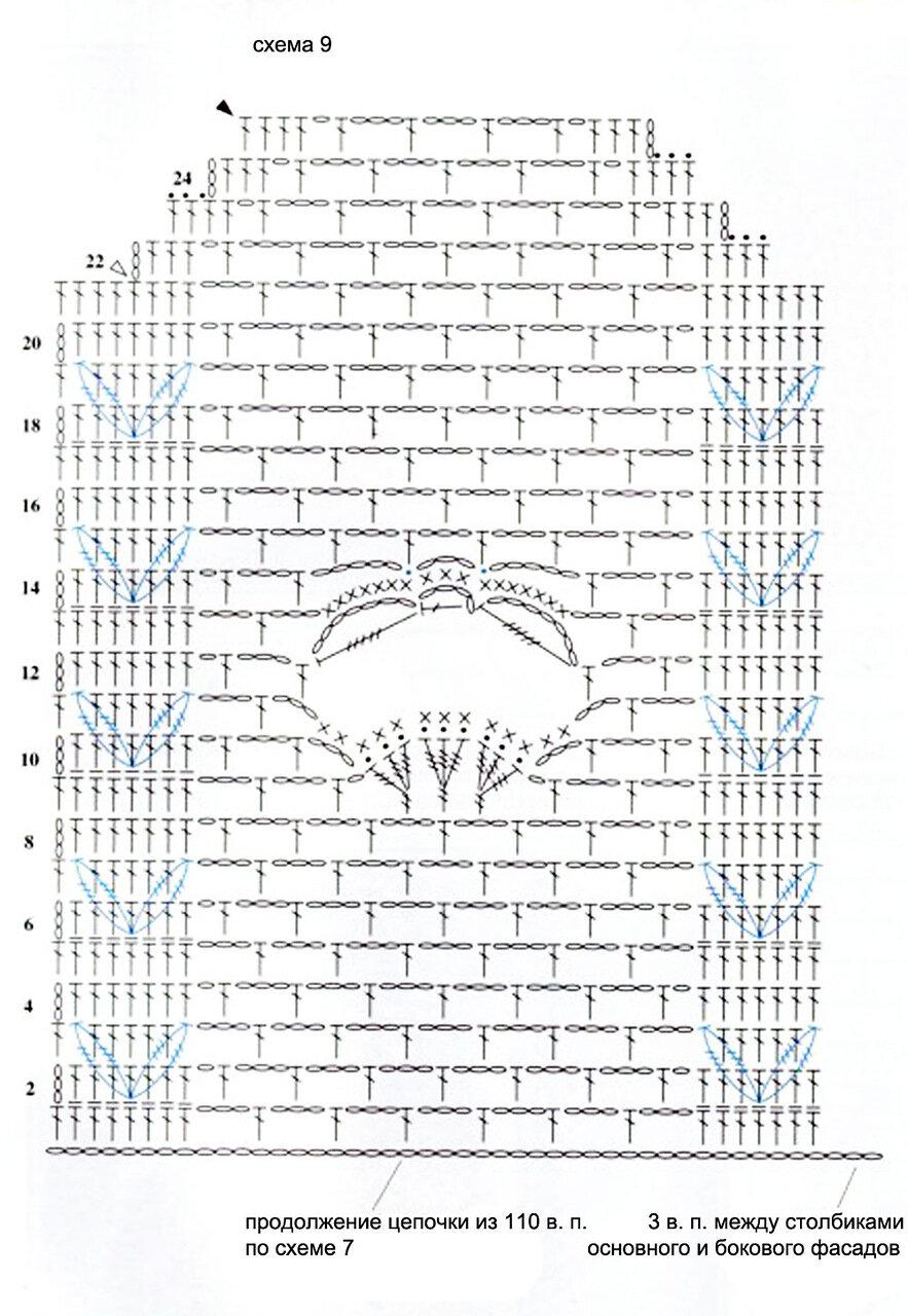 Схема вязания детского пледа зачарованный замок 970