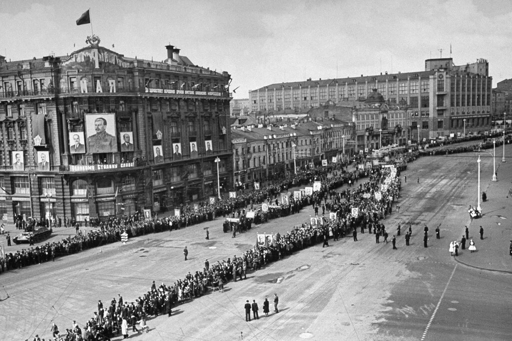 celebrating May Day in Moscow in 1947 by Thomas McAvoy