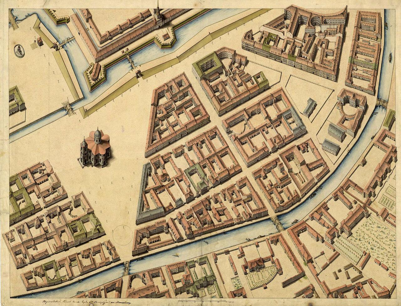 1796-1800. Аксонометрический план Исаакиевской площади