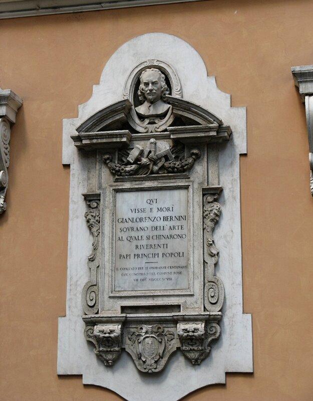 Рим. Мемореальная доска на доме где жил и умер Бернини.