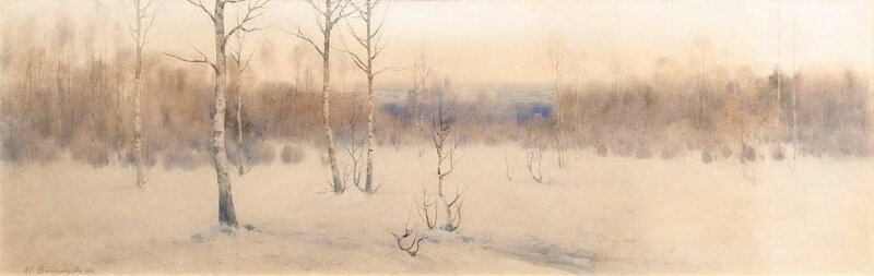 «Зимний пейзаж с берёзами» Подпись Виноградовъ, 1911.