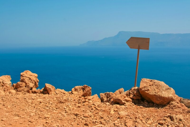 View of Mediterranean sea from island of Crete, Greece