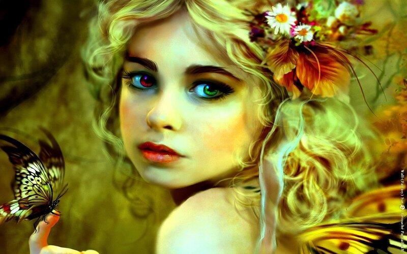 Девушка и бабочка, Зеленые глаза, бабочка, взгляд, предпросмотр.