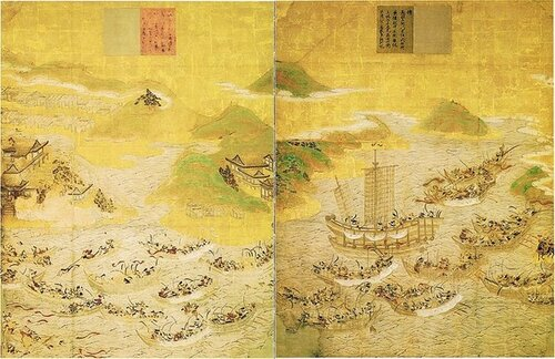 Суда Минамото и Тайра сошлись у залива Дан-но-ура.