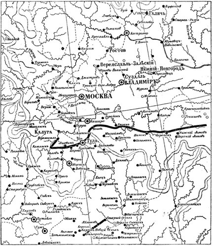 Рисунок 23. Города и засечные линии в XVII веке (Ф. Ласковский).