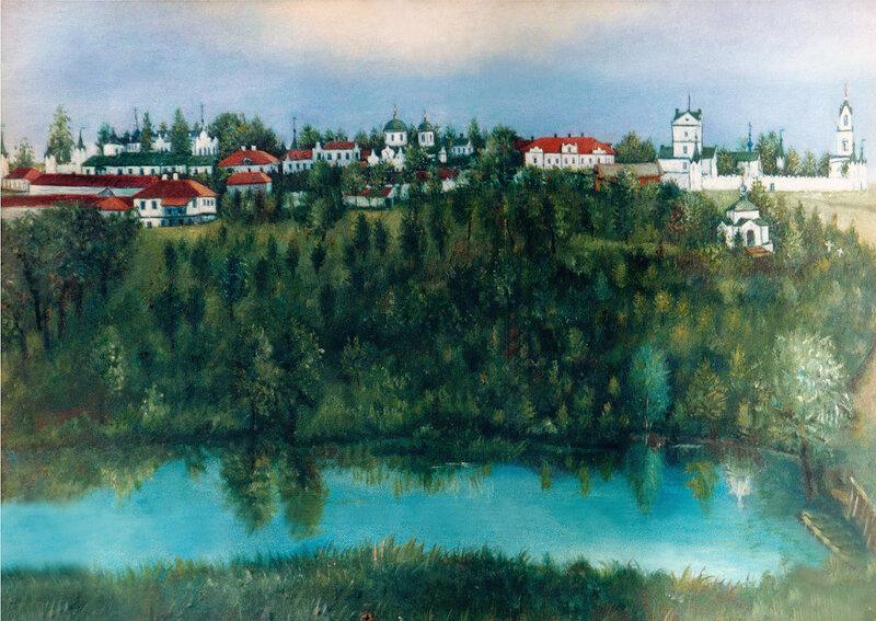 Вид Верхохарьковского Николаевского монастыря