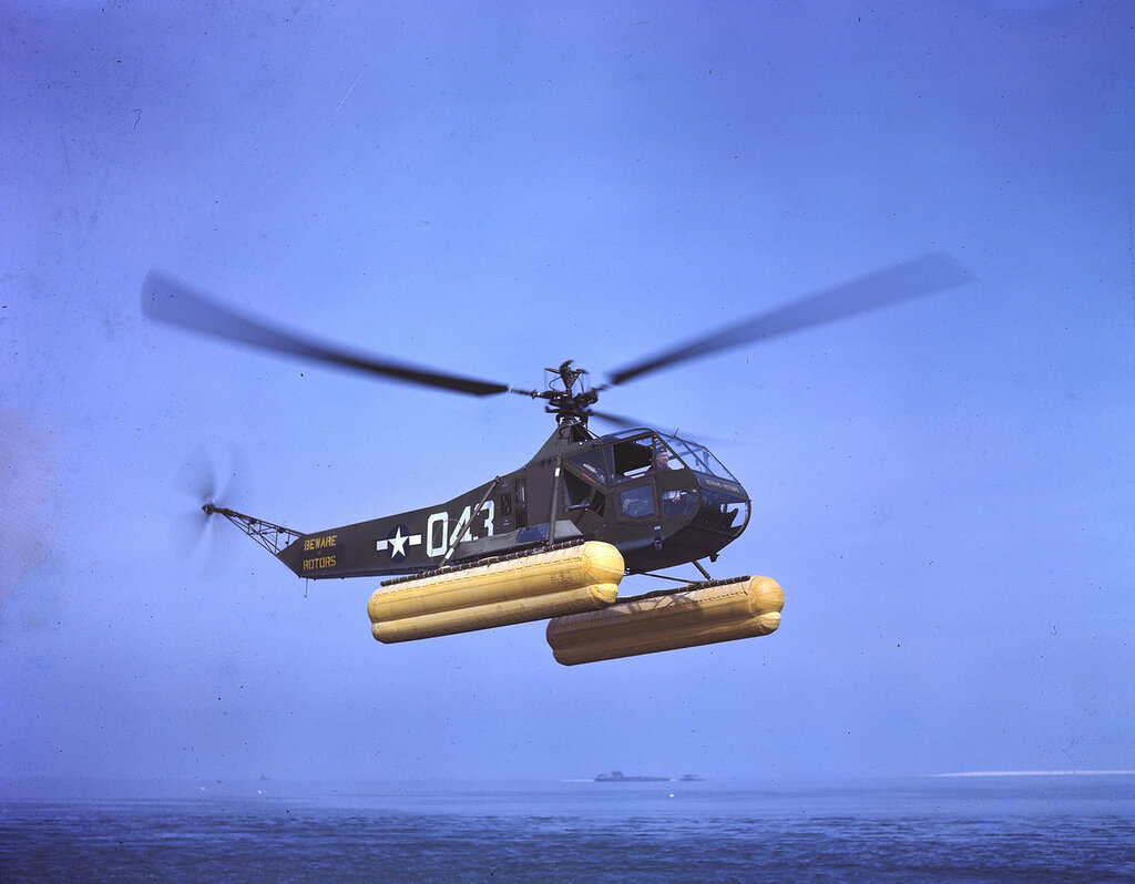 U. S. Coast Guard Sikorsky R-4B (BuNo 39043 sn 43-46544) equipped with pontoons.