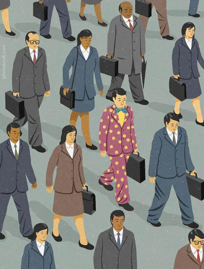 Сатирические иллюстрации о современных проблемах в стиле 50-х