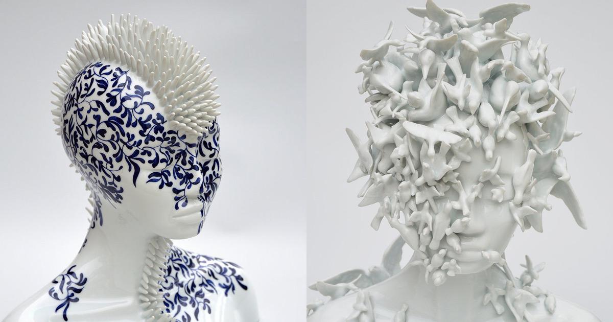 Женские бюсты из фарфора покрытые шипами от Juliette Clovis