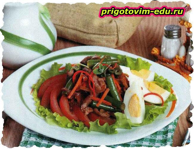 Теплый салат с уткой и морковкой по — корейски