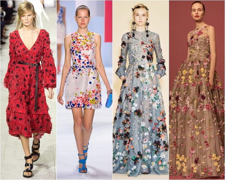 модный фасон платья 2016: платья с цветочными аппликациями