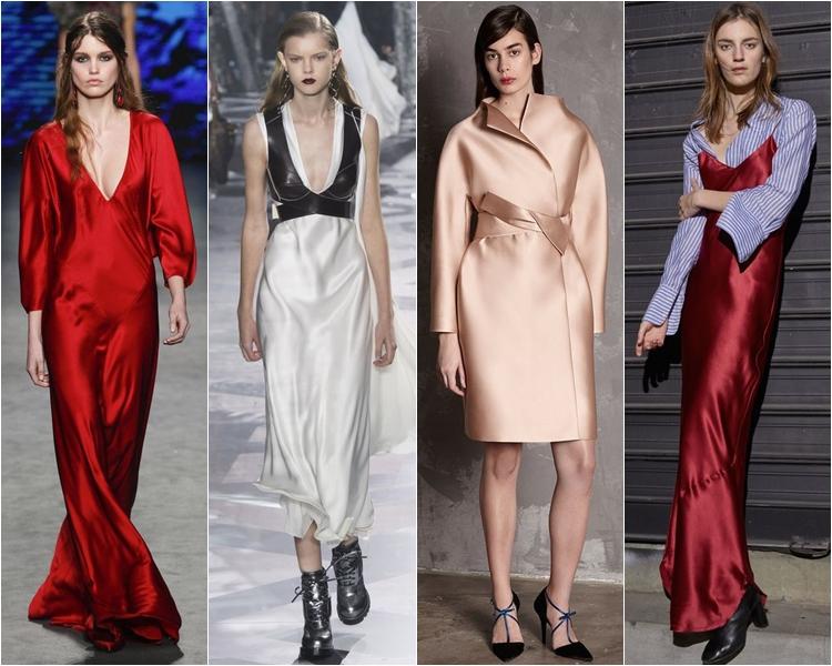 шелковые ткани, мода осень-зима 2016-2017