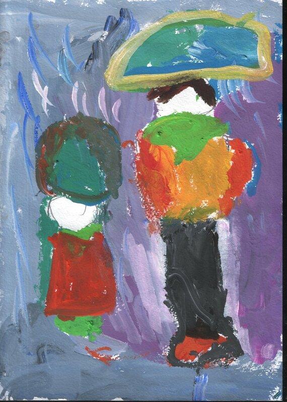 """детский рисунок """"Под дождем"""""""
