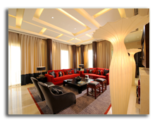 ОАЭ. Дубаи. Raffles Dubai. Fire Presidential Suite - Living Room Landscape