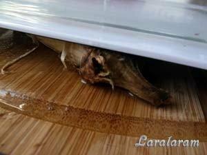 Очищенный баклажан под прессом