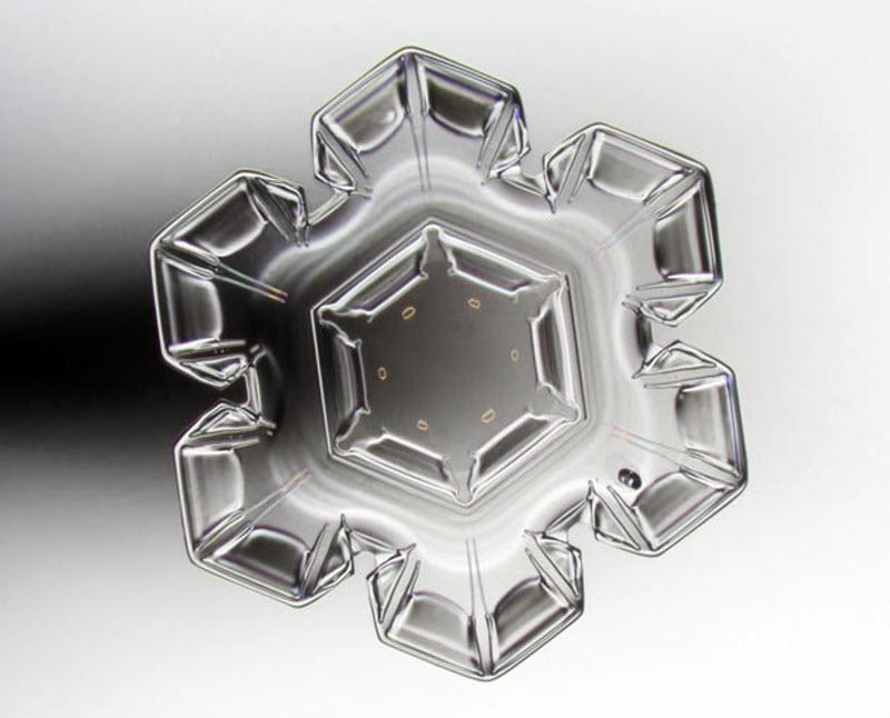18. Кристалл снежинки (увеличение х40). Фото сделано в Сонкаярви, Финляндия. (PEKKA HONKAKOSKI / BAR