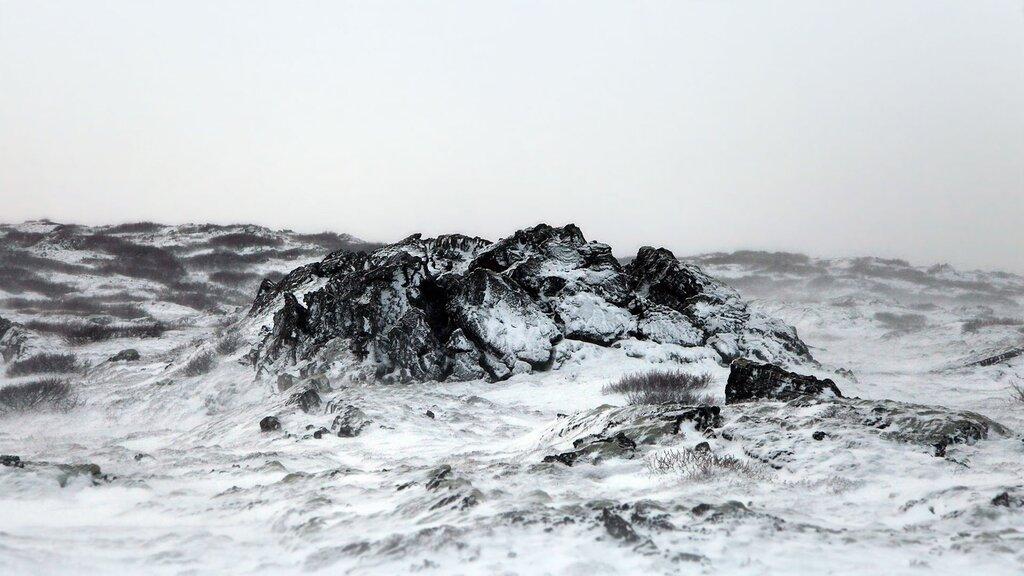 lava field under snow