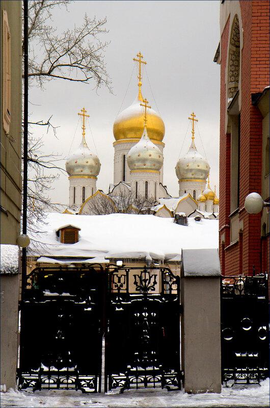 Купола Зачатьевского монастыря.