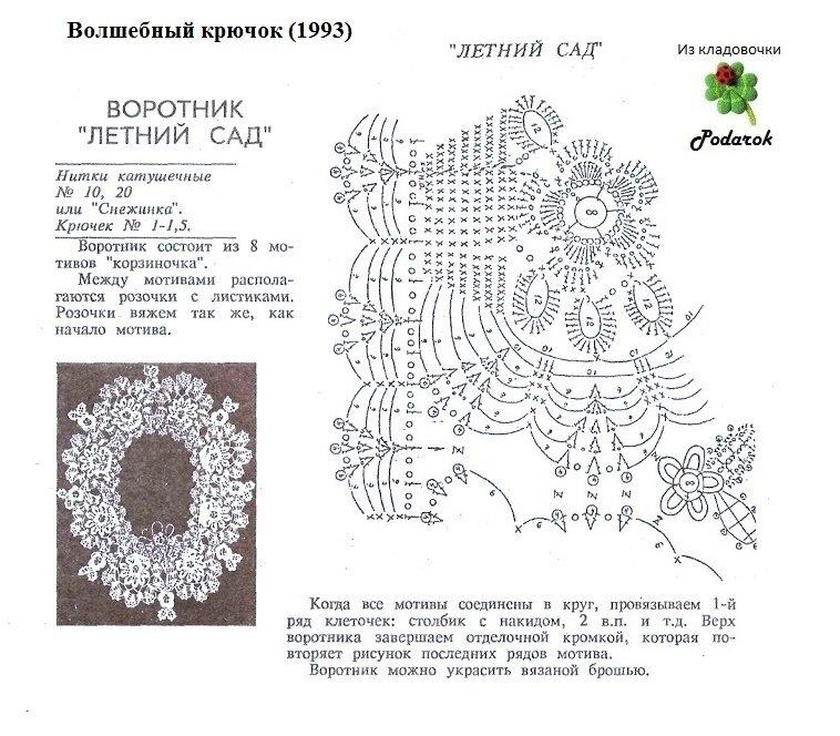 Кружевные воротнички схемы вязания