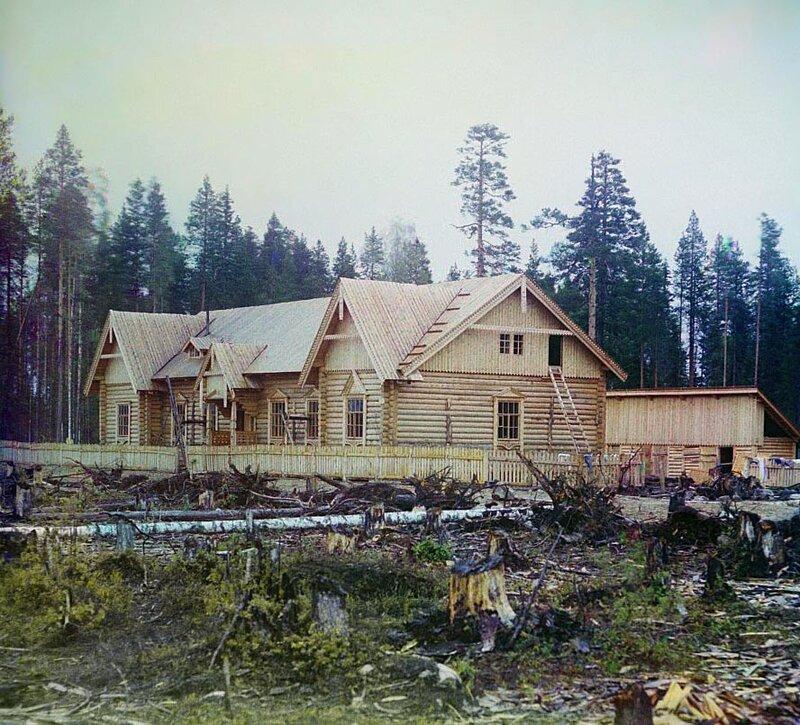 Railway building under construction in Karelia, 1915. Photo by Sergei Prokudin-Gorsky.