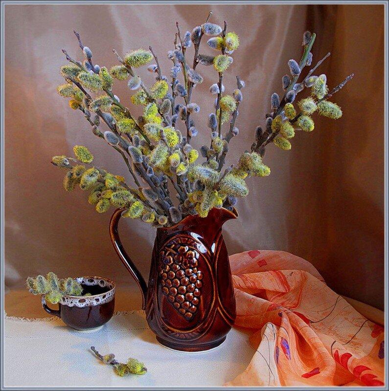 фото вербы в вазе вид блюд, посуда