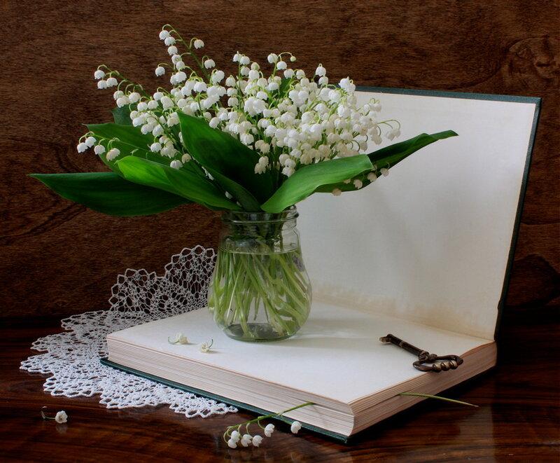 Ландыши открытка белый букет, николая