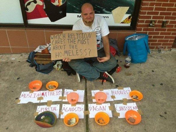Какая религия больше заботится о бездомных?