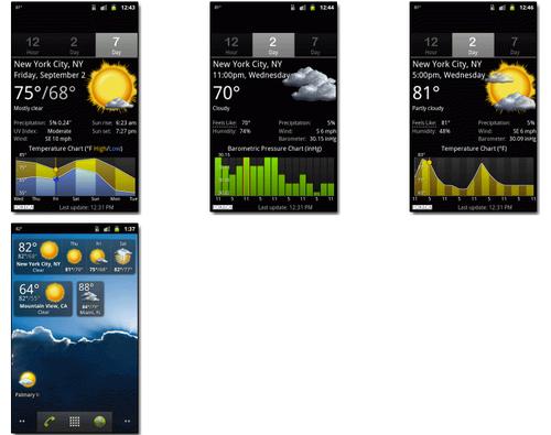 Скриншоты Palmary Weather на странице приложения на сайте palmarysoft.com