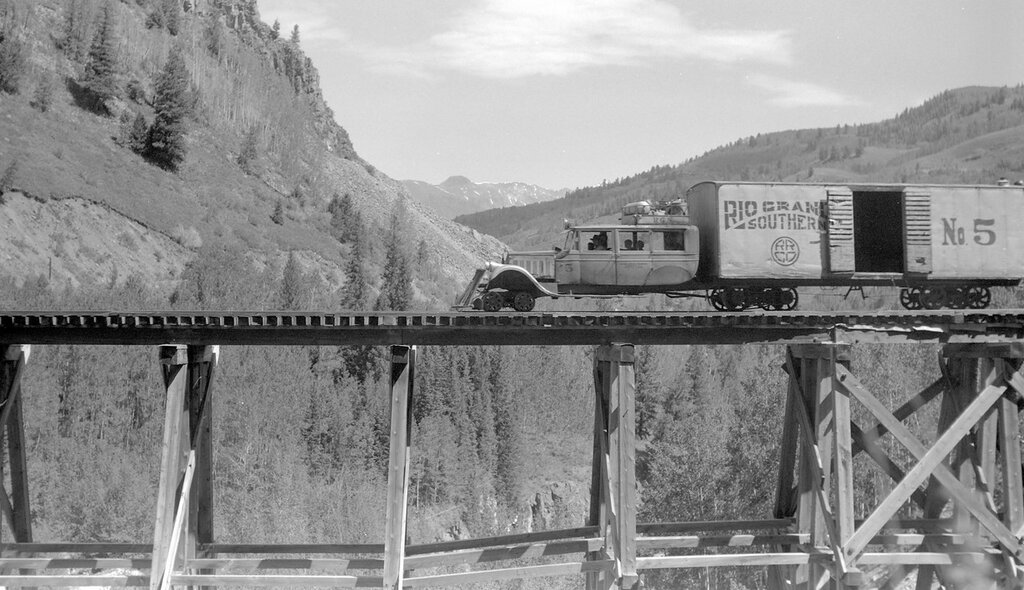 "Rio Grande Southern narrow gauge motor car number 5 ""Galloping Goose"" on Bilk trestle, near Vance Jct., Colo., June 24, 1944"