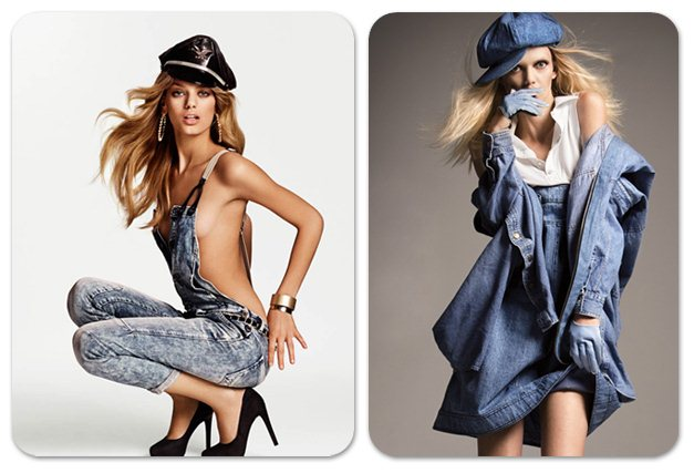 Бреджи Хейнен и Дженифер Пью в модной джинсовой одежде, фотограф Philip Riches