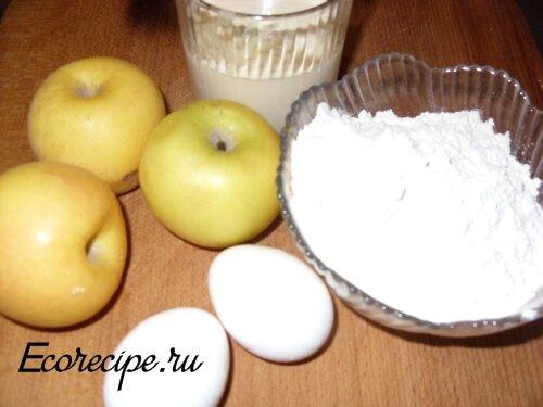 Ингредиенты для приготовления оладьей с яблоками