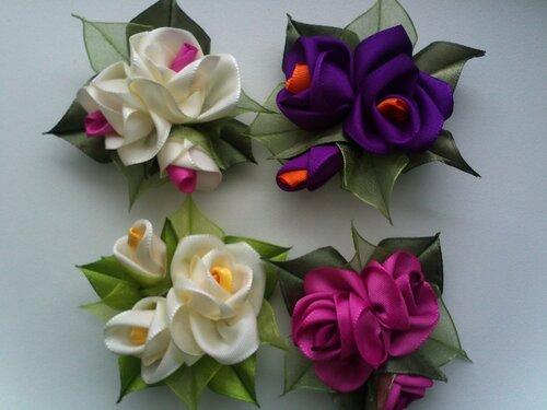 Розы канзаши из лент своими руками мастер класс