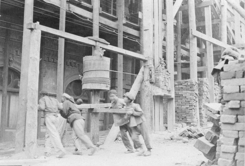 Workers at a construction site, Vladivostok, 1919-20. Photo by Merrill Haskell