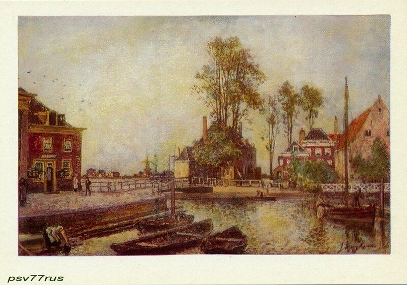 Набережная канала.  Ян Бартолд Йонгкинд (1819-1891). Голландская школа.