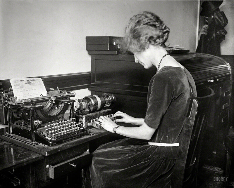 March 1923. Washington, D.C. ''Western Union telegram -- electric code machine''