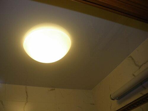 Фото 10. Плафон установлен на место. Замена лампы в потолочном светильнике произведена успешно. После вмешательства электрика санузел стал освещаться в два раза эффективнее.