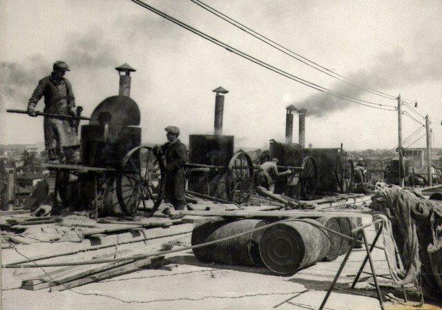 Котлы для подогрева битума. Пропитка полота. Сентябрь 1936г.