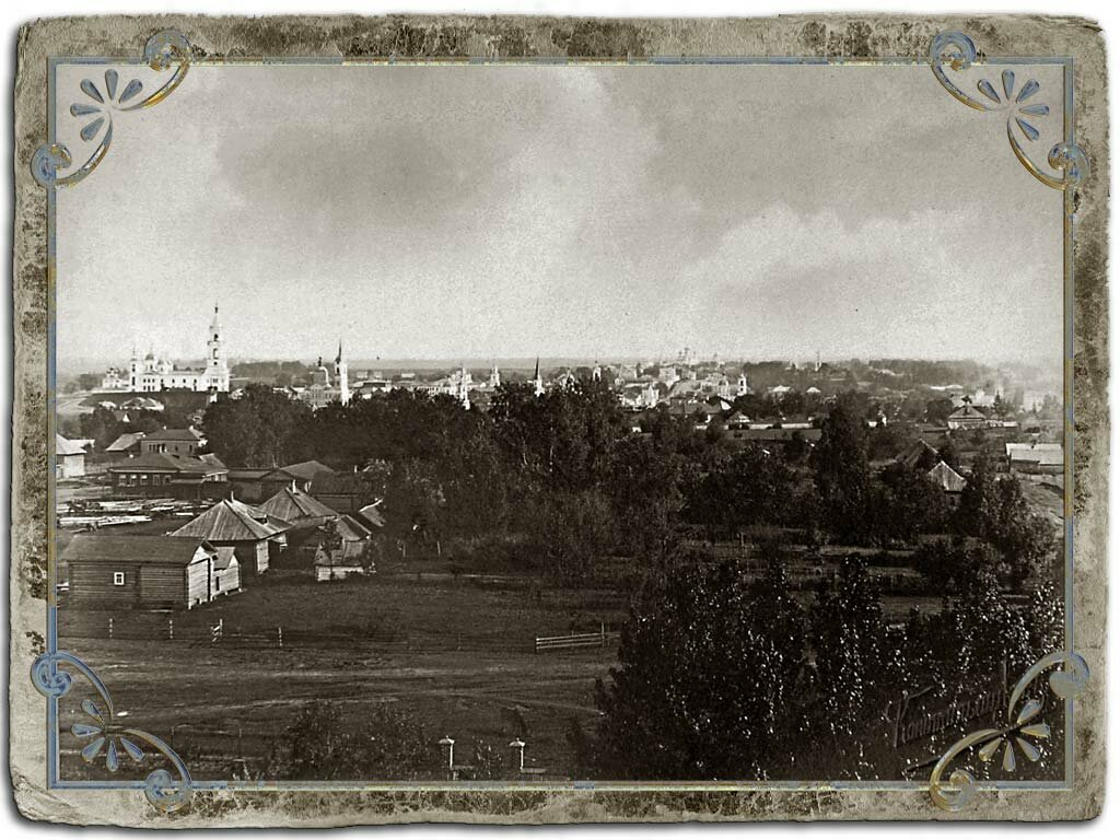 Вид города с колокольни Сергиевской церкви (Южная часть)