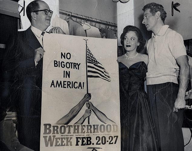 Singer Georgia Gibbs and comedians Phil Silvers and Danny Kaye promote Brotherhood Week