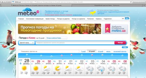 Прогноз погоды в Киеве на сайте meteo.ua