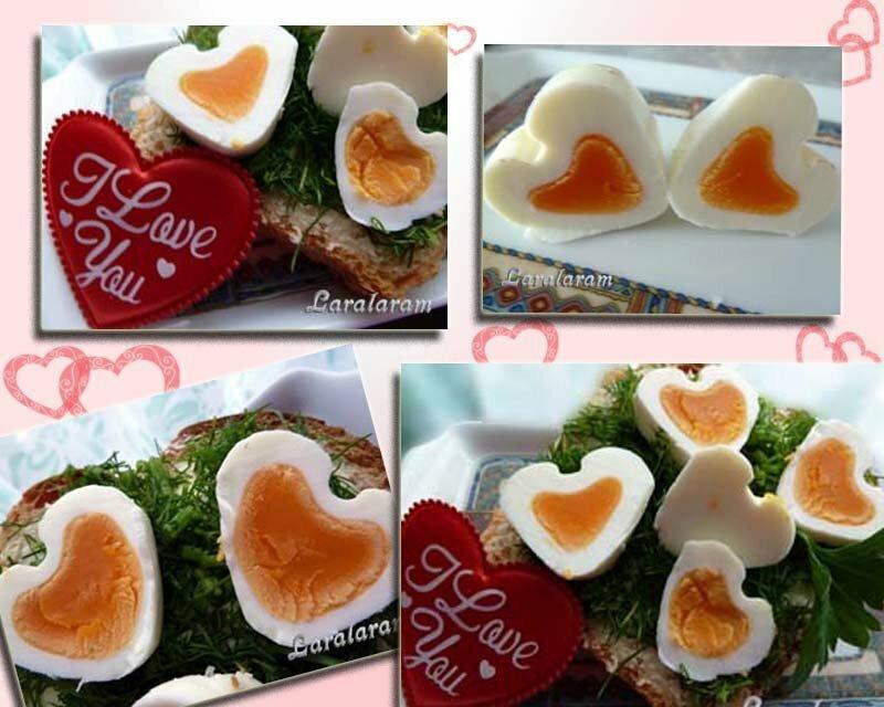 Яйцо в виде сердца для завтрака для двоих
