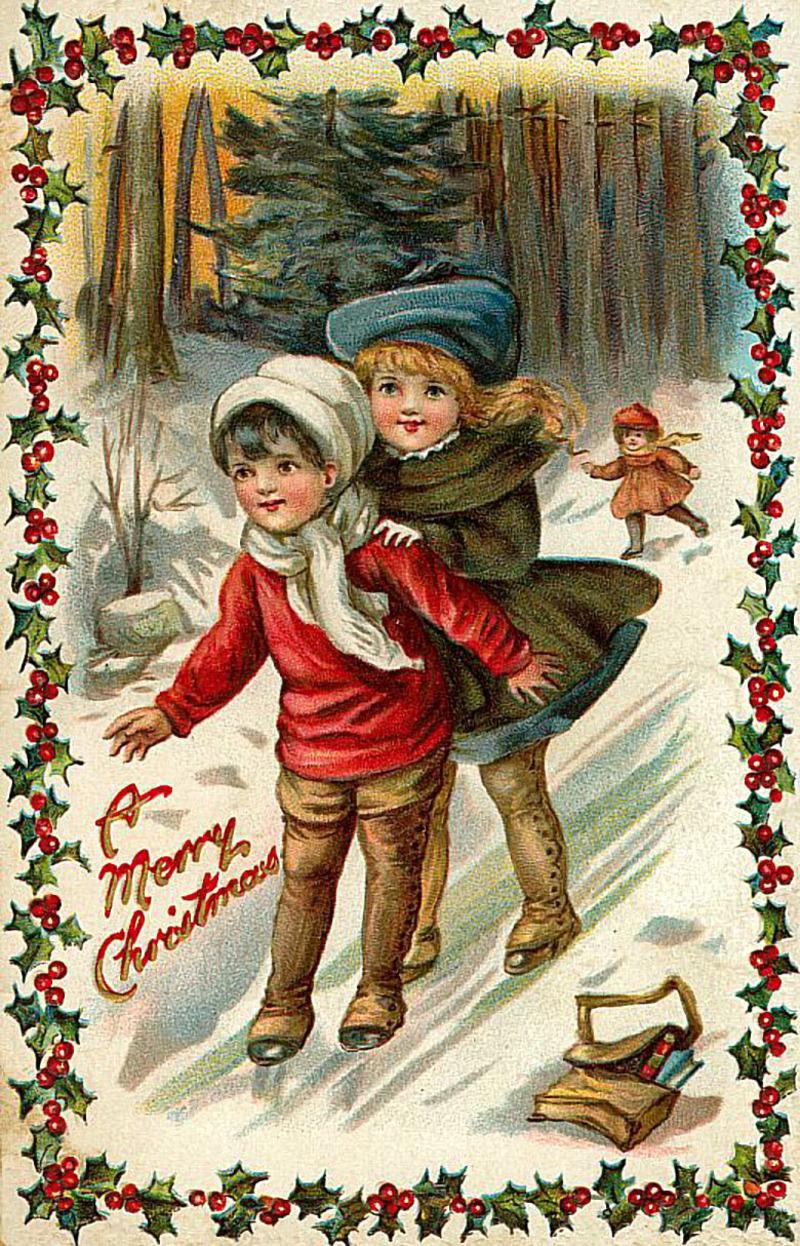 Прошедшей, старинные картинки новый год и рождество