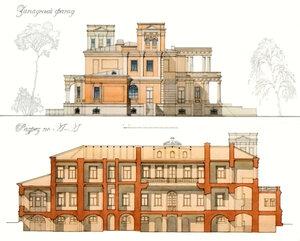 Усадебный дом в Степановском-Павлищеве. Западный фасад. Разрез по линии А-А