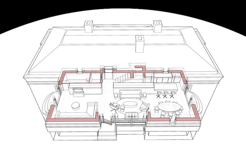 План первого этажа с расстановкой мебели, системы отопления, кухни, помещений гостиной, столовой, каминной, спальни гостей, уборной, шкафов для хранения домашней утвари, планировочная структура первого этажа