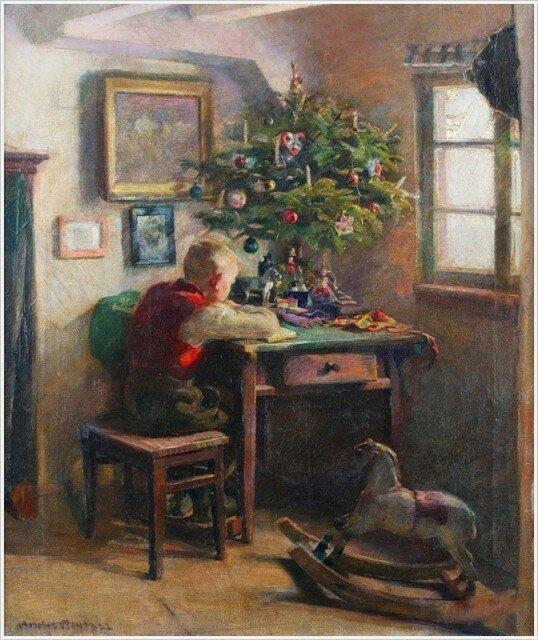 Andreas Bach (German, 1886-?) «Christmas morning»